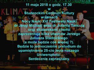 Nocy Nauki XVI Festiwalu Nauki - utwory Jerzego Juliusza Stadnickiego